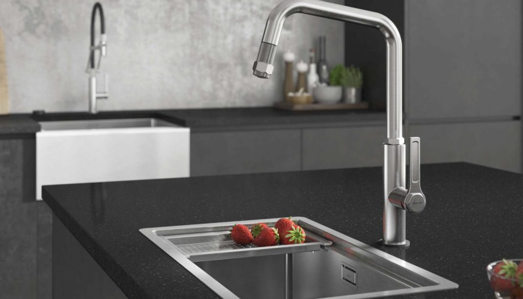 image showing how a pull out tap can help give you a more hygienic kitchen