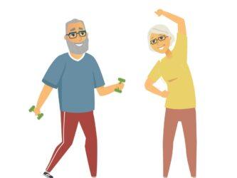 Senior people exercising